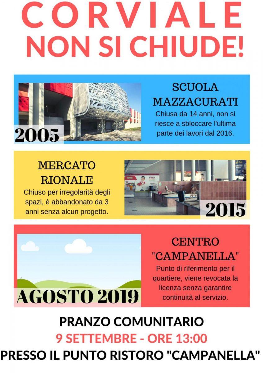 Pranzo comunitario 9 settembre 2019, ore 13, presso il punto ristoro Campanella.
