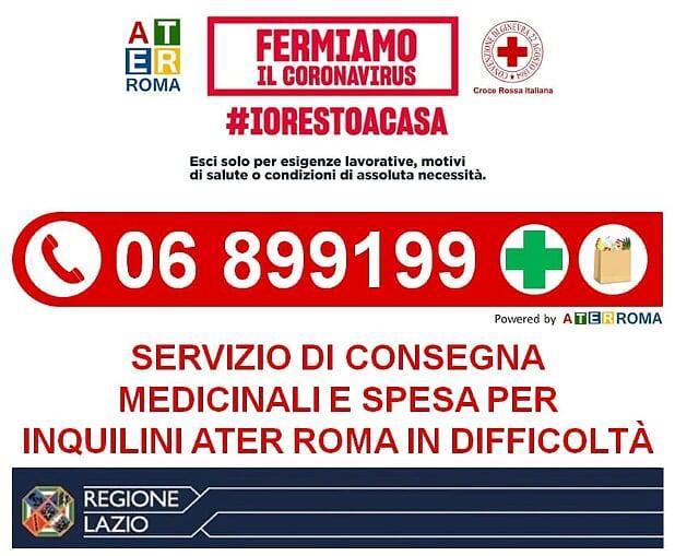 Numero Ater per servizio di consegna medicinali e spesa per inquilini Ater Roma in difficoltà: 06 899199