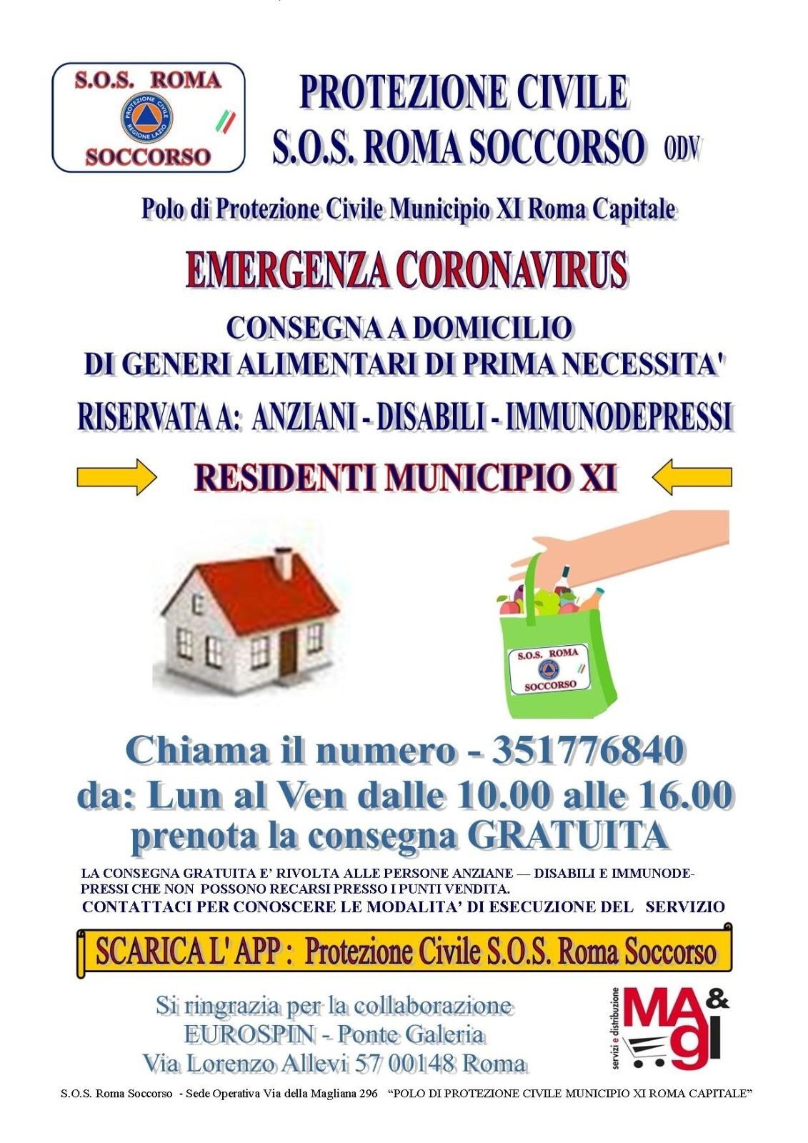 S.o.S. Roma Soccorso Protezione Civile. Chiama il 351776840 Lunedì al Venerdì dalle 10.00 alle 16.00