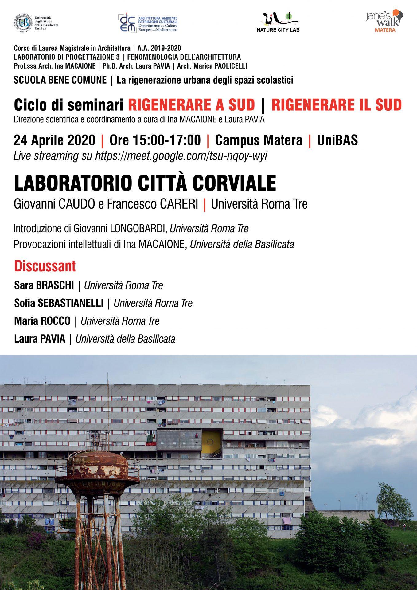 Laboratorio di Città Corviale, corso di Laurea Magistrale, 24/4/2020